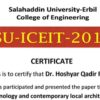 Assist prof.Dr.Hoshyar Qadir Rasul participated in Salahadeen International Conference with a Research entitled (Technology and Contemporary Local Architecture)
